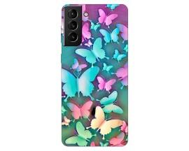 Husa Silicon Soft Upzz Print Compatibila Cu Samsung Galaxy S21 Model Colorfull Butterflies