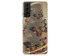 Husa Silicon Soft Upzz Print Compatibila Cu Samsung Galaxy S21 Model Golden Butterfly
