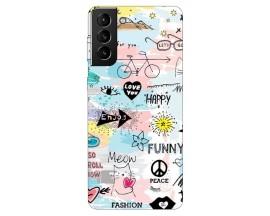 Husa Silicon Soft Upzz Print Compatibila Cu Samsung Galaxy S21 Model Meow
