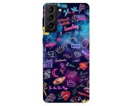 Husa Silicon Soft Upzz Print Compatibila Cu Samsung Galaxy S21 Model Neon