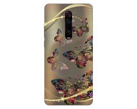 Husa Silicon Soft Upzz Print Xiaomi Redmi 9T Model Golden Butterflies
