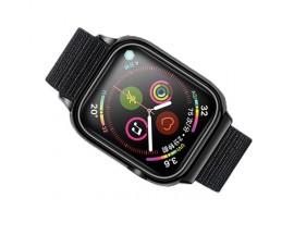 Curea Apple Watch Usams Nylon Cu Cadru Compatibila Cu Apple Watch 4 / 5 / 6 / Se (44mm), Negru
