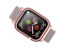 Curea Apple Watch Usams Nylon Cu Cadru Compatibila Cu Apple Watch 4 / 5 / 6 / Se (44mm), Rose Gold