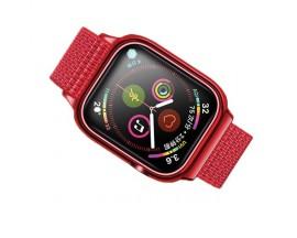 Curea Apple Watch Usams Nylon Cu Cadru Compatibila Cu Apple Watch 4 / 5 / 6 / Se (44mm), Rosu