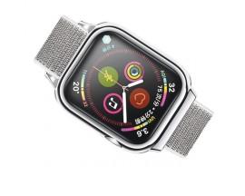 Curea Apple Watch Usams Nylon Cu Cadru Compatibila Cu Apple Watch 4 / 5 / 6 / Se (44mm), Silver