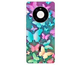 Husa Silicon Soft Upzz Print Compatibila Cu Huawei Mate 40 Model Colorfull Butterflies