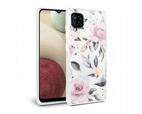 Husa Spate Tech- Protect Floral Silicone Samsung Galaxy A12, Alb