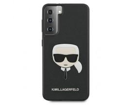 Husa Premium Originala Karl Lagerfeld Compatibila Cu Samsung Galaxy S21, Colectia Saffiano Karl Head, Negru - KLHCS21SSAKHBK