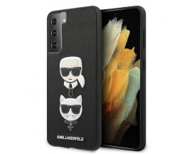Husa Premium Originala Karl Lagerfeld Compatibila Cu Samsung Galaxy S21+ Plus, Colectia Saffiano Karl si Choupette, Negru - 6732