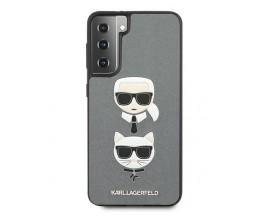 Husa Premium Originala Karl Lagerfeld Compatibila Cu Samsung Galaxy S21+ Plus, Colectia Saffiano Karl si Choupette, Gri - 6763