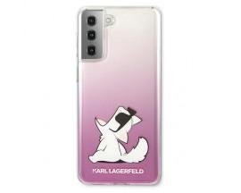 Husa Premium Originala Karl Lagerfeld Compatibila Cu Samsung Galaxy S21, Model Choupette Fun, Roz - 6961