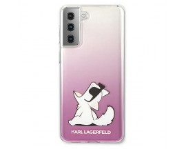Husa Premium Originala Karl Lagerfeld Compatibila Cu Samsung Galaxy S21+ Plus, Model Choupette Fun, Roz - 6978