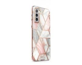 Husa Premium Supcase Cosmo Compatibila Cu Samsung Galaxy S21, Marble Roz