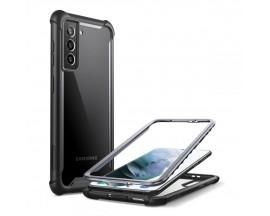 Husa Premium Iblason Ares Compatibila Cu Samsung Galaxy S21+ PLus, Negru Cu Spate Transparent