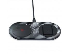 Incarcator Premium De Birou Wireless Baseus Turbo Simple 2 In 1 Pentru Telefon Si Airpods, 24W Cu Incarcator 12V