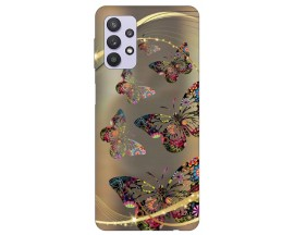 Husa Silicon Soft Upzz Print Compatibila Cu Samsung Galaxy A32 5g Model Golden Butterfly