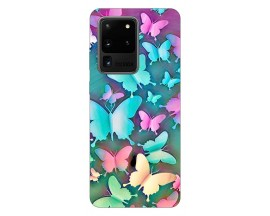 Husa Silicon Soft Upzz Print Samsung Galaxy S20 Ultra Model Colorfull Butterflies