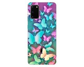 Husa Silicon Soft Upzz Print Compatibila Cu Samsung Galaxy S20 Model Colorfull Butterflies