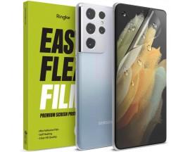 Folie Silicon Premium Ringke Dual Easy  Pentru Samsung Galaxy S21 Ultra, 2 Bucati In Pachet, Transparenta, Silicon