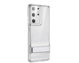 Husa Premium Esr Air Shield Boost Compatibila Cu Samsung S21 Ultra, Silicon, Stand Metalic, Transparenta