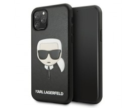 Husa Premium Karl Lagerfeld Compatibila Cu iPhone 11 Pro, Model Ikonik Karl Head, Piele Ecologica, Negru - KLHCN58KHBK