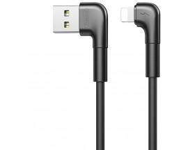 Cablu Date Incarcare Remax Tenky Compatibil Cu Dispozitive Cu Mufa Lightning, 2.1A, Capete La 90 Grade, Negru