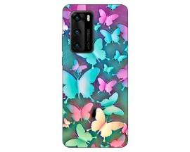 Husa Silicon Soft Upzz Print Compatibila Cu Huawei P40 Model Colorfull Butterflies