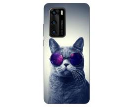 Husa Silicon Soft Upzz Print Compatibila Cu Huawei P40 Model Cool Cat