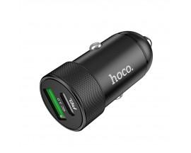 Incarcator Auto Premium Hoco Dual 1 x Type-C PD 27W, 1 x Usb Quick Charge 3.0, Negru Z32b