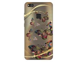 Husa Silicon Soft Upzz Print Compatibila Cu Huawei P10 Lite Model Golden Butterflies