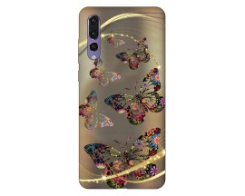 Husa Silicon Soft Upzz PrintCompatibila Cu Huawei P20 Pro Model Golden Butterfly