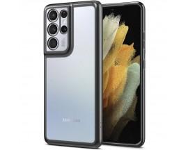 Husa Premium Spigen Optik Crystal Compatibila Cu Samsung S21 Ultra, Chrome Gri