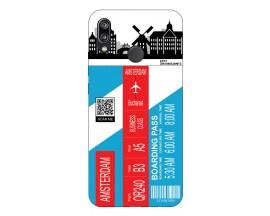 Husa Silicon Soft Upzz Print Travel Compatibila cu Huawei P20 Lite Model Amsterdam