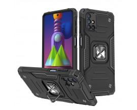 Husa Premium Ring Armor Wozinsky Pentru Samsung Galaxy M51, Antishock Cu Ring Metalic Pe Spate - Negru