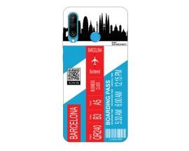 Husa Silicon Soft Upzz Print Travel Compatibila cu Huawei P30 Lite Model Barcelona