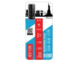 Husa Silicon Soft Upzz Print Travel Compatibila cu Huawei P Smart 2021 Model New York
