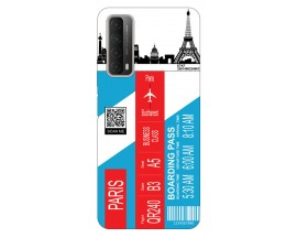 Husa Silicon Soft Upzz Print Travel Compatibila cu Huawei P Smart 2021 Model Paris