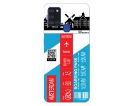 Husa Silicon Soft Upzz Print Travel Compatibila cu Samsung Galaxy A21s Model Amsterdam
