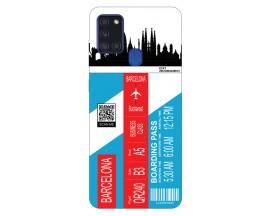Husa Silicon Soft Upzz Print Travel Compatibila cu Samsung Galaxy A21s Model Barcelona