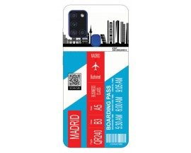 Husa Silicon Soft Upzz Print Travel Compatibila cu Samsung Galaxy A21s Model Madrid