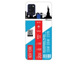 Husa Silicon Soft Upzz Print Travel Compatibila cu Samsung Galaxy A21s Model New York