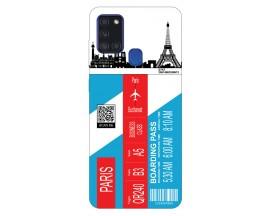 Husa Silicon Soft Upzz Print Travel Compatibila cu Samsung Galaxy A21s Model Paris