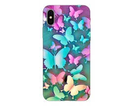 Husa Silicon Soft Upzz Print Compatibila Cu iPhone X/ iPhone Xs Model Coorfull Butterflies