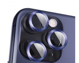 Protectie Premium Mr. Monkey Pentru Camera Din Aluminiu Si Sticla Securizata iPhone 12 Pro Max - Albastru