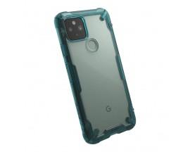 Husa Premium Ringke Fusion X Compatibila Cu Google Pixel 5, Transparenta Cu Margine Verde