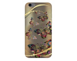 Husa Silicon Soft Upzz Print Compatibila Cu iPhone 6 Plus/ iPhone 6s Plus Model Golden Butterfly