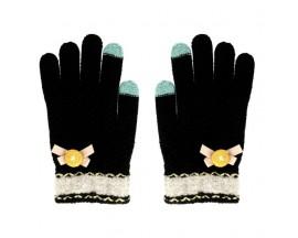 Manusi Touchscreen Upzz  Winter Flower - Negru