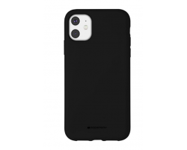 Husa Spate Mercury Silicone iPhone 11, Interior Alcantara Negru