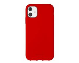 Husa Spate Mercury Goospery Silicone iPhone 11, Interior Alcantara Rosu