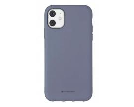 Husa Spate Mercury Goospery Silicone iPhone 11, Interior Alcantara Lavander Grey